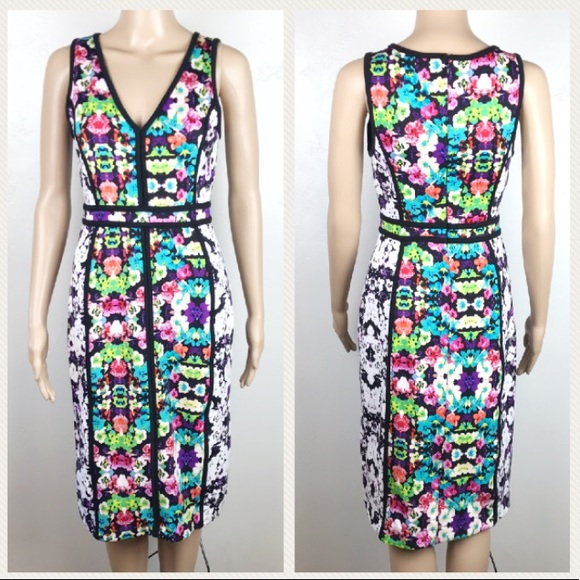 Nicole Miller Womens Tropical Floral Stretch Dress